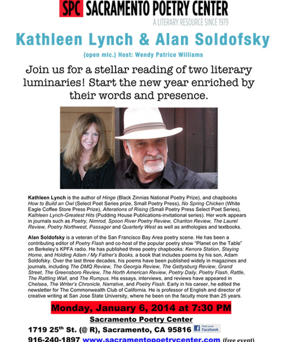 Kathleen Lynch & Alan Soldofsky @ Sacramento Poetry Center 01/06/14